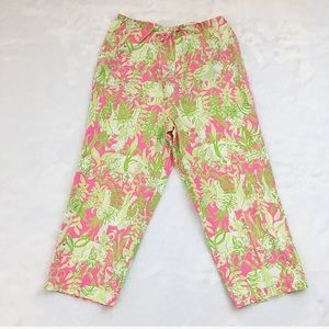 Lilly Pulitzer Pink & Green Elephant Crop Pants
